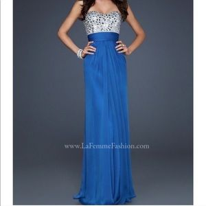 Sapphire Blue Strapless Formal Dress